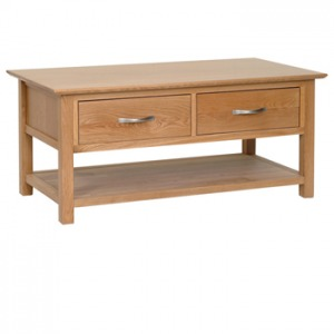 Light Oak Coffee Table with Drawers