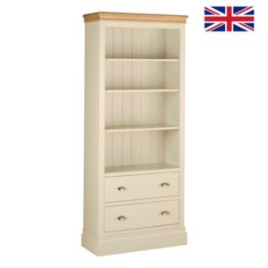 Lundy Pine bookcase with Drawers & Oak Top